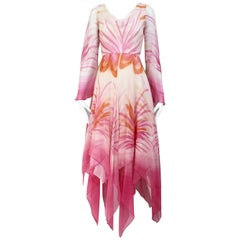 1970s Michael Novarese Pink and White Floral Print Silk Chiffon Dress