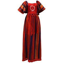 1970s Rikma Bohemian Crochet W/Fringe Maxi Dress