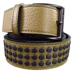 BURBERRY Olive Khaki Green Textured Leather Matte Black Studded Belt