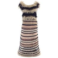 Jean Paul Gaultier blue and creme raffia knit crochet dress