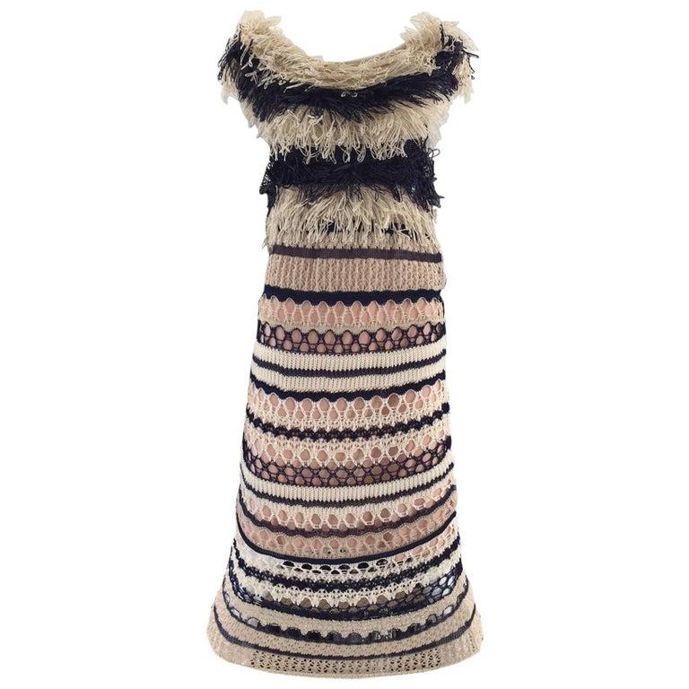 Jean Paul Gaultier blue and creme raffia knit crochet dress For Sale