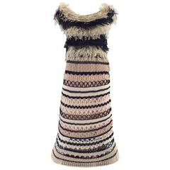 Jean Paul Gaultier blue and creme raffia knit crochet dress