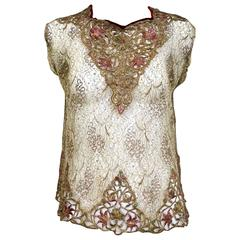 1920s gold embroidered lace blouse