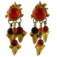 Philippe Ferrandis Vintage Poured Glass Foliage Dangling Earrings