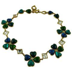 Yves Saint Laurent YSL Vintage Clover Heart Necklace 2 Ways