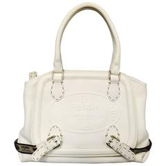 Fendi Selleria White Grained Leather Satchel With Staps