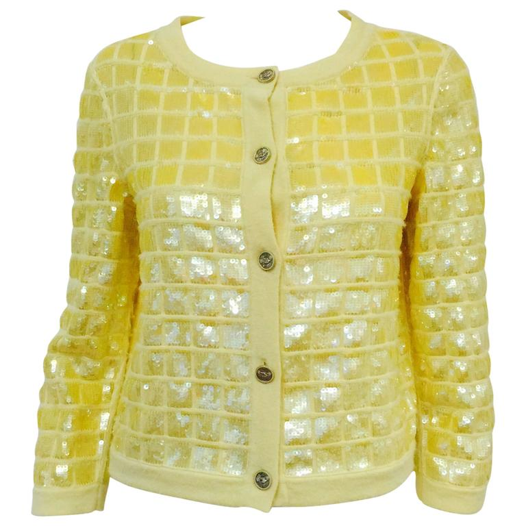 Chanel Lemon Cashmere Cardigan With Iridescent Sequin Embroidery All Over