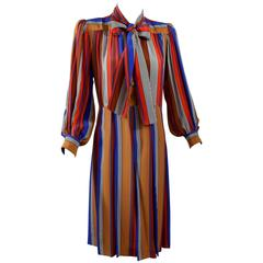 Vintage Yves Saint Laurent Striped Silk Dress