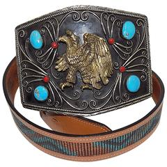 Cowboy legends massive silver hand crafted belt w turquoise /eagle buckle