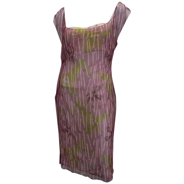 Gianni Versace Couture Double Layer Floral  Mesh Dress