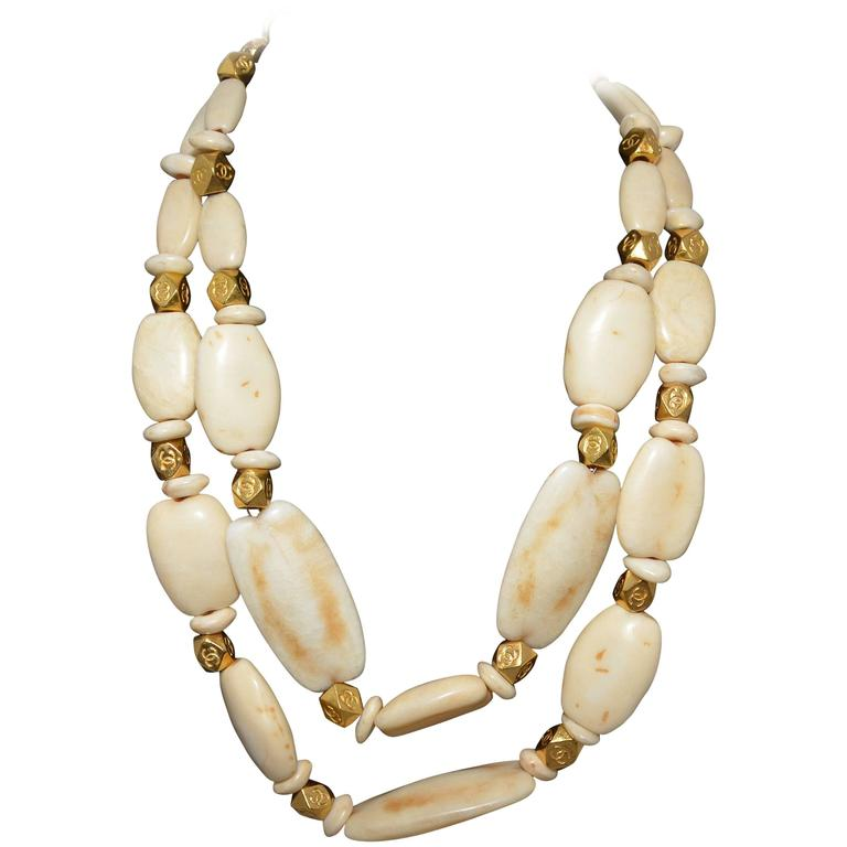 Chanel 1996 P Chunky Bead Double Strand Necklace For Sale