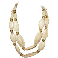 Chanel 1996 P Chunky Bead Double Strand Necklace