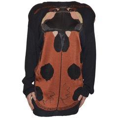 Krizia Maglia Vintage Knit Ladybug Rayon Sweater