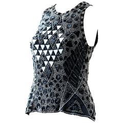 Naeem Khan Riazee Sleeveless Formal Black and White Beaded Blouse S, 1981
