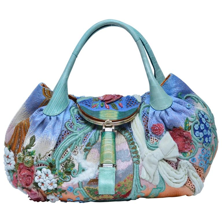 6dfbcc9a72ee Extremely Rare FENDI Wisteria Spy Handbag Fashion Art  06 Limited Edition  Mint For Sale