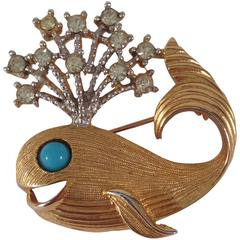 1960s Kenneth Jay Lane Whale Brooch