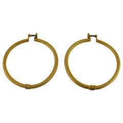 Chanel Vintage Gold Toned Hoop Earrings 1996 Fall Collection