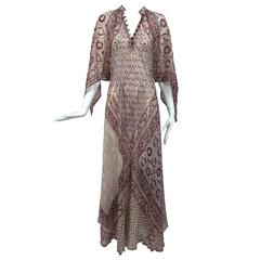 Sheer gauze block print with gold caftan from India 1960s Woodward & Lothrop