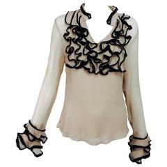 Lloyd Klein nude silk gauze ruffle front blouse & matching camisole