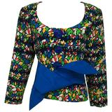 Yves Saint Laurent floral print scoop neck jacket & original belt early 80s