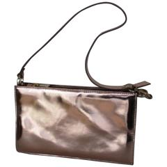 L.K.Bennett rose gold metallic leather posy bag