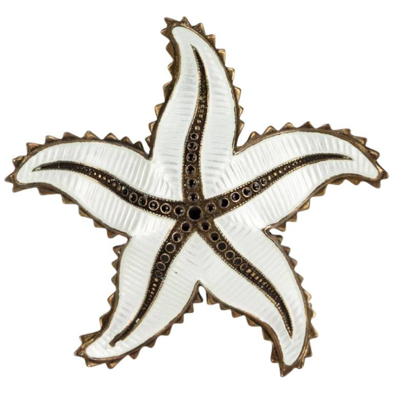 Ivar Holth White Enamel Sterling Silver Starfish Brooch Pin Norway For Sale