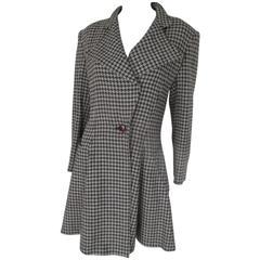 Louis Feraud black/white checked wool coat