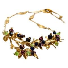 Estate Dynamic Leaves Vine Berry Gold Plate Sterling Silver Modernist Necklace