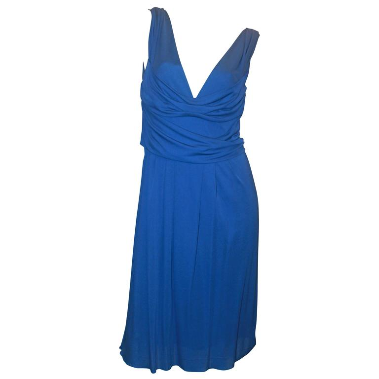 Moschino Blue Matte Sleeveless Jersey Dress - 8