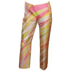 Emilio Pucci Pink, White, & Yellow Print Silk Palazzo Pants - 4
