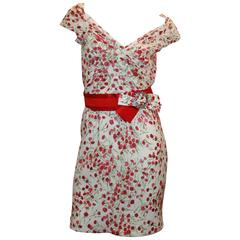 Dolce & Gabbana White Dress with Red Flower Print & Belt - 40