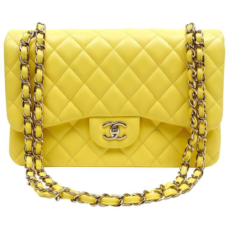 Chanel Yellow Leather Jumbo Classic Double Flap Bag 1