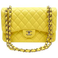 Chanel Yellow Leather Jumbo Classic Double Flap Bag