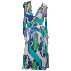 Emilio Pucci Purple, Green, White, & Blue Print Silk Jersey 3/4 Sleeve Dress - 4