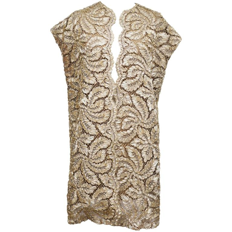 Gold Lace And Lame Couture Gillet, c. 1960s