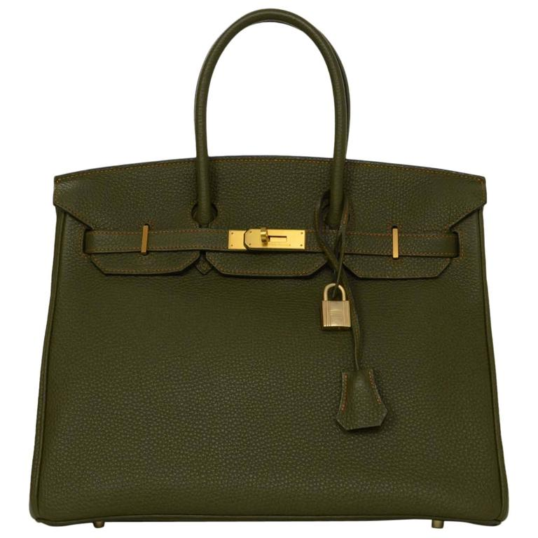 Hermes Olive Green Togo Leather Special Order 35cm Birkin Bag GHW 1