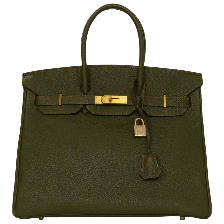 Hermes Olive Green Togo Leather Special Order 35cm Birkin Bag Ghw At 1stdibs