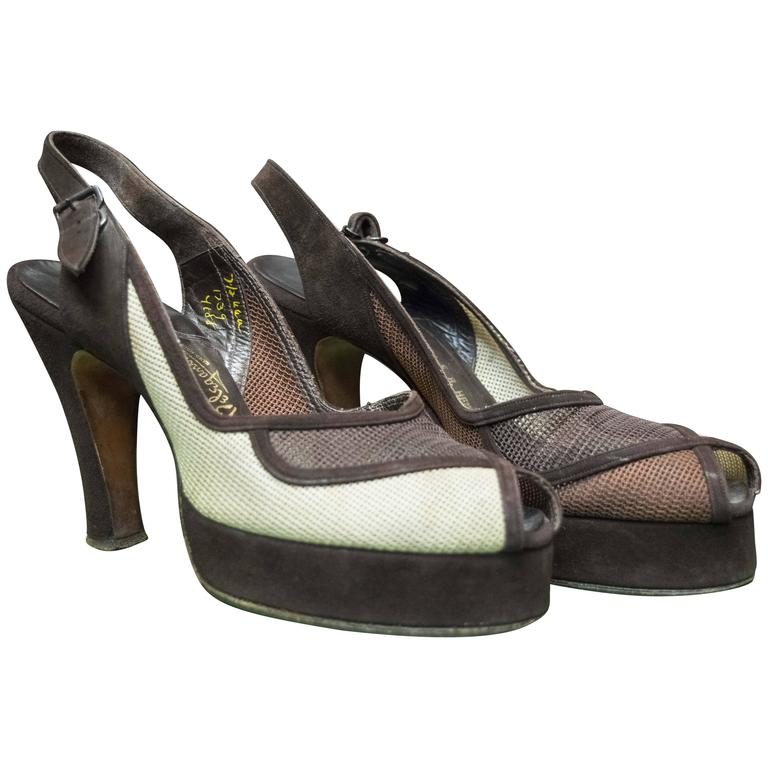 1940s Suede And Mesh Platform Shoes