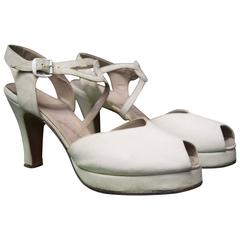 1940s White Suede Platform Shoes