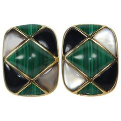 KAI YIN LO Gold Plated Sterling Silver Malachite with Mother of Pearl and Onyx