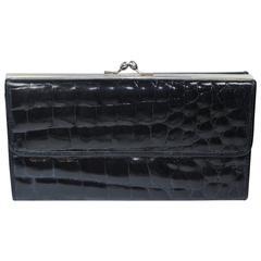 NEIMAN MARCUS Vintage Frame Black Crocodile Wallet