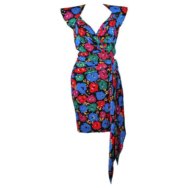 ANDREA ODICINI Floral Primary Color Print Cocktail Dress Structured Shoulder 10 For Sale