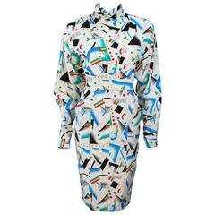 FENDI Off White Silk Prism Tunic and Pencil Skirt Ensemble Size 38