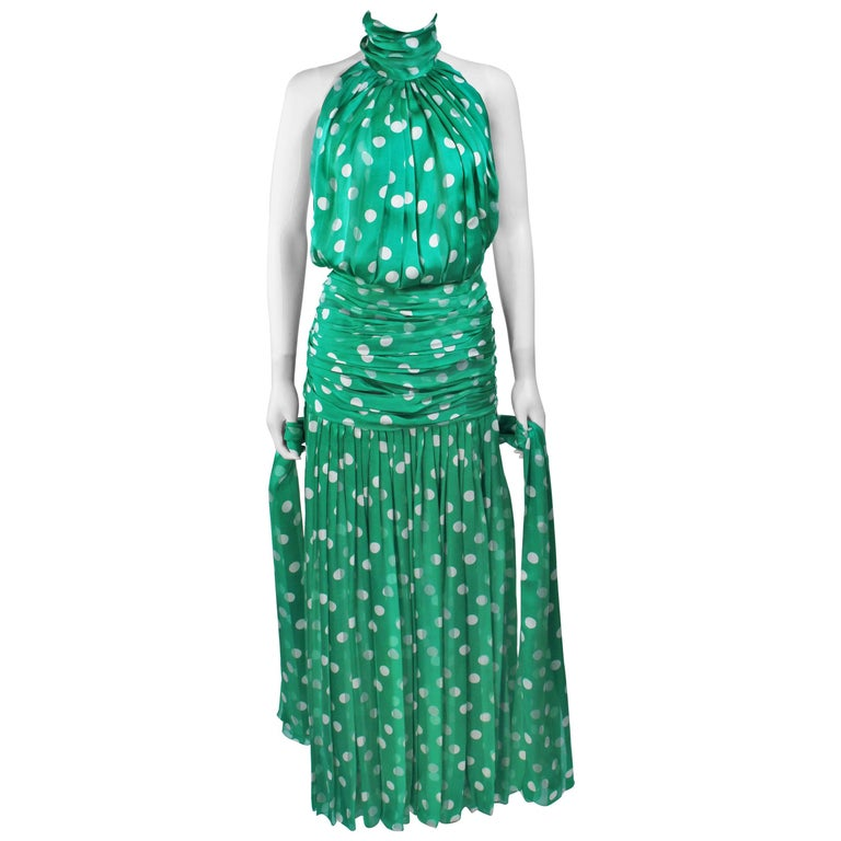 JIKI MONTE CARLO Silk Green and White Polka Dot Gown Size 2 For Sale