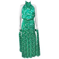 JIKI MONTE CARLO Silk Green and White Polka Dot Gown Size 2