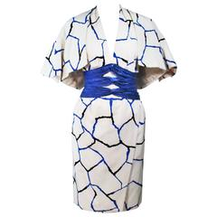 JACQUELINE DE RIBES Halter Dress with Cobalt Snakeskin Waist and Bolero Size 4-6