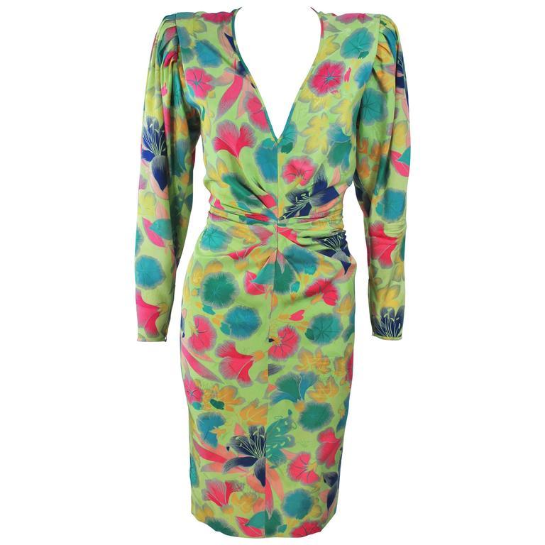 EMANUEL UNGARO Silk Green Floral Dress Size 8