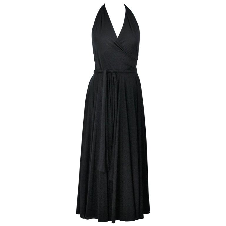 NORMA KAMALI Black Wrap Style Halter Dress Size Small