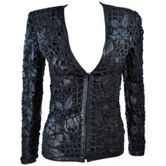 VALENTINO Leather Jacket with Cut Floral Design and Beaded Applique Size 38 2