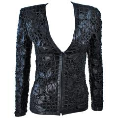 VALENTINO Leather Jacket with Floral Design and Beaded Applique Size 38 2